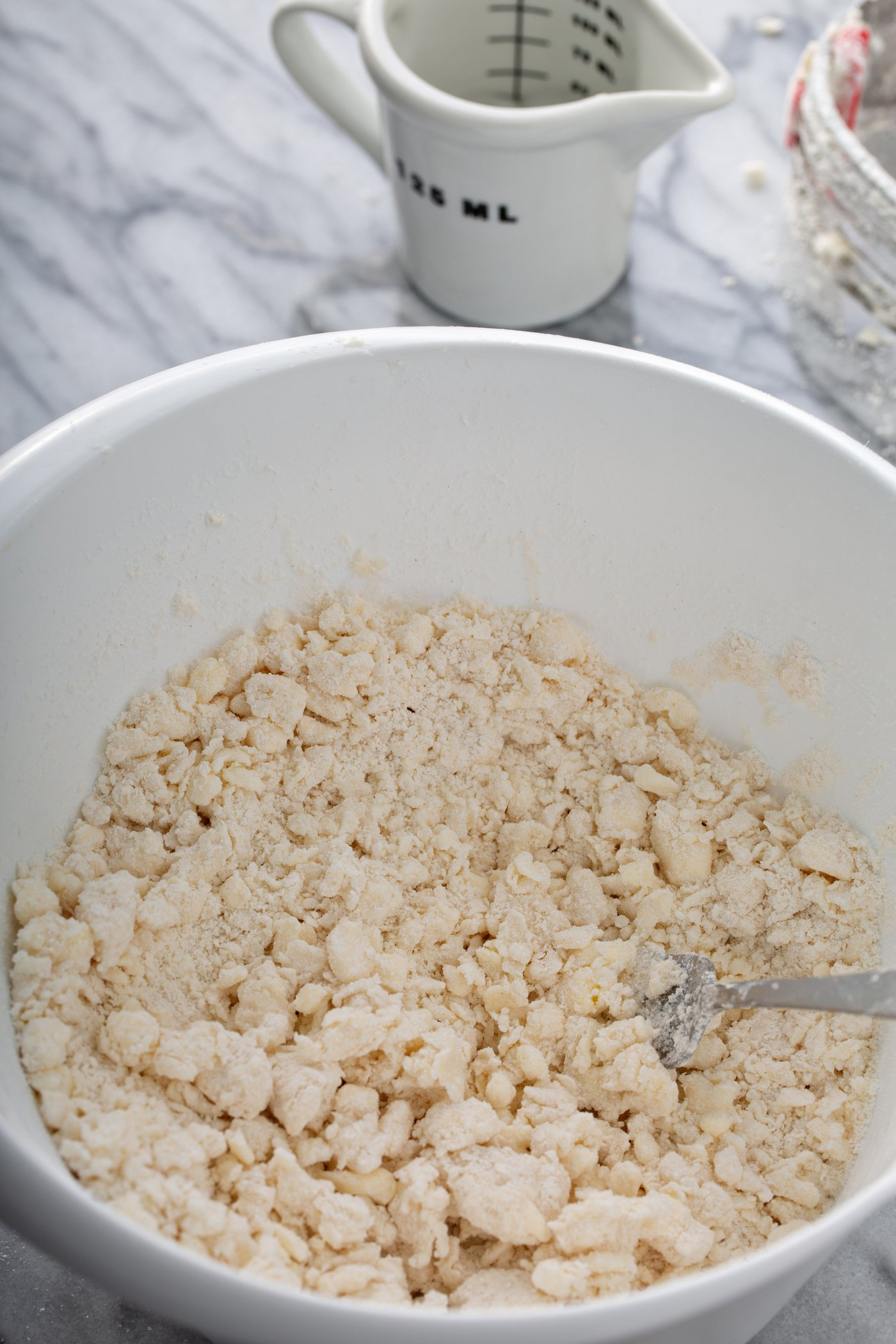 A photo of crumbly pie crust dough in a mixing bowl.