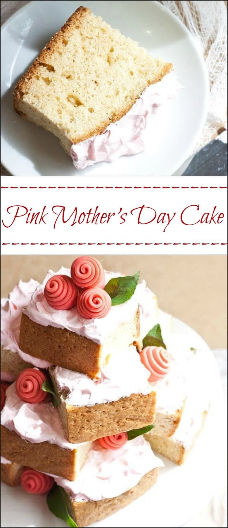 An easy tutorial for this gorgeous pink Mother's Day cake with flowers.
