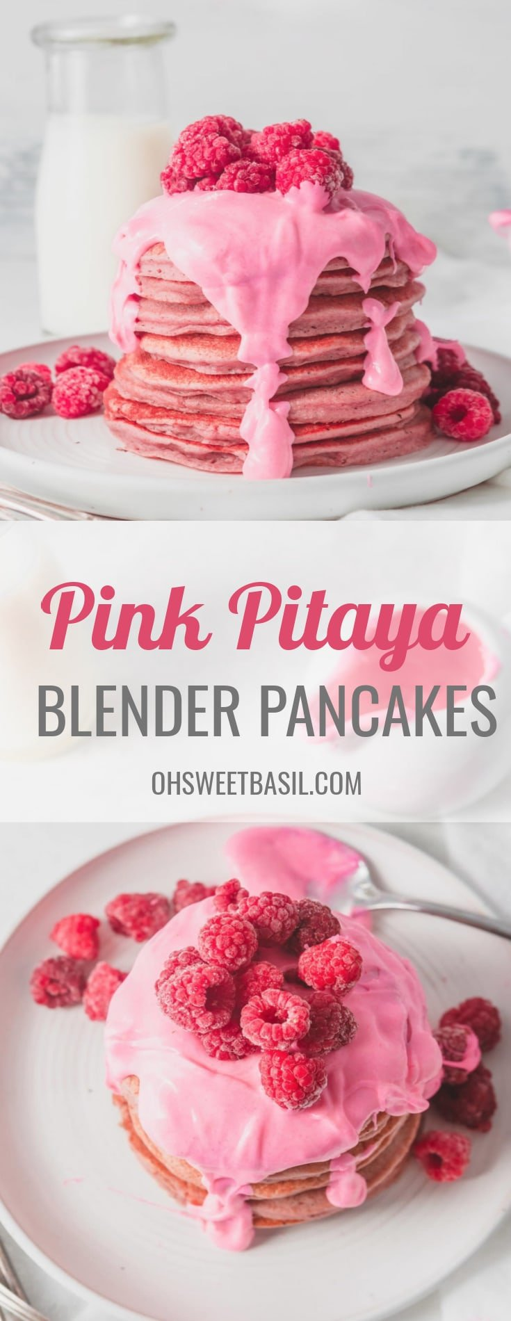 A large stack of pink pitaya pancakes with a thick pink chocolate sauce poured over the top. There are fresh raspberries on top of the sauce and raspberries on the plate around the pancakes.