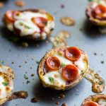 Pizza Potato Skins are the perfect snack for Game Day and all year long! Baby potatoes are topped with sauce, plenty of cheese, and mini pepperonis or your own favorite toppings.