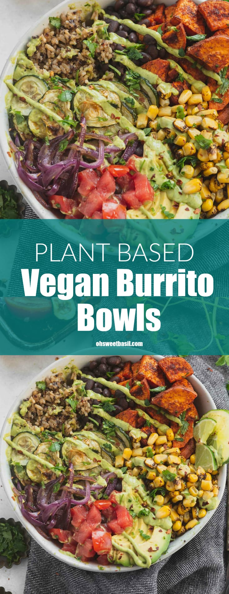 A plant based, vegan burrito bowl filled with tomatoes, avocados, red onion, roasted corn, sweet potatoes, black beans and brown rice and quinoa.