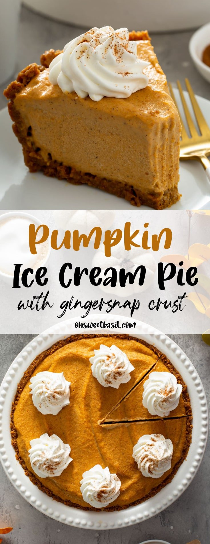 A slice of Pumpkin Ice cream Pie with a bite taked out of it on a white plate
