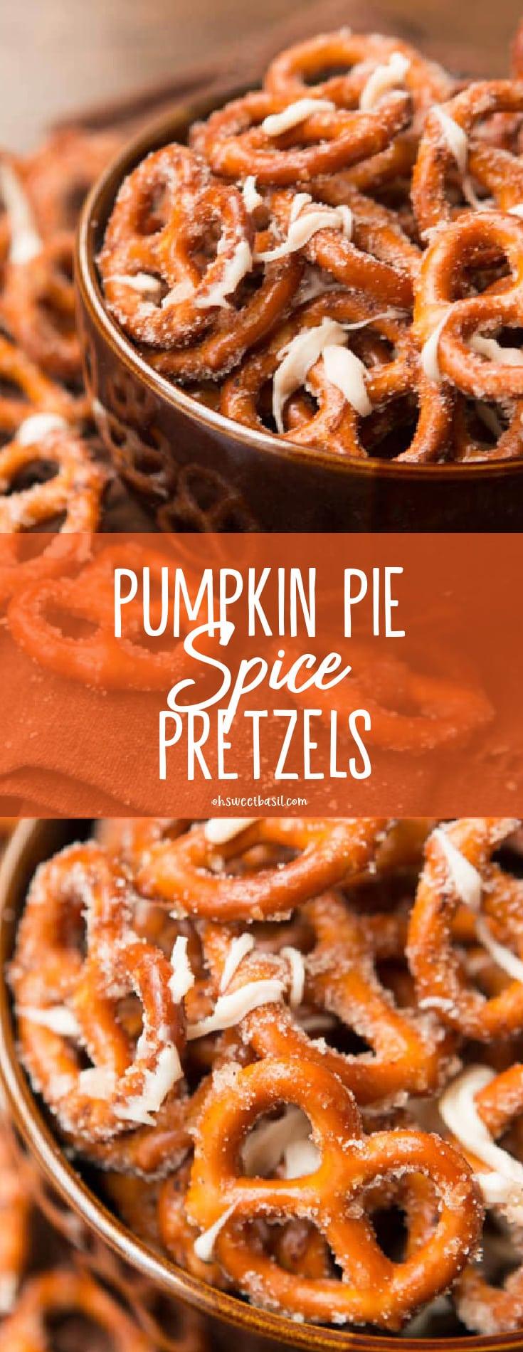 A bowl of pumpkin spice pretzels