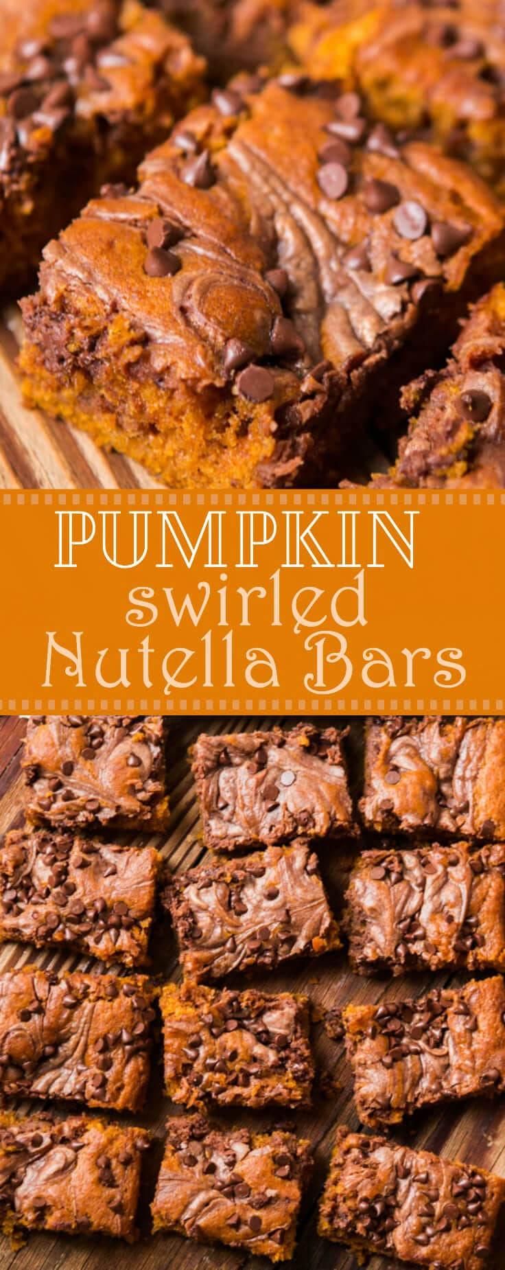 Well this is it, the only pumpkin recipe you need for the entire holiday season. I know, I've posted a lot of pumpkin but Nutella Swirled Pumpkin Bars are the winners.