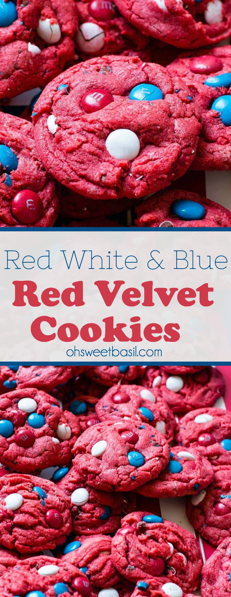 A bunch of Red White and Blue Red Velvet Cookies with m&m's