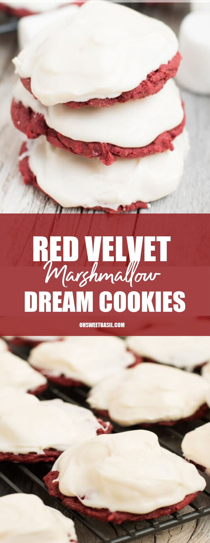 A stack of red velvet marshmallow dream cookies