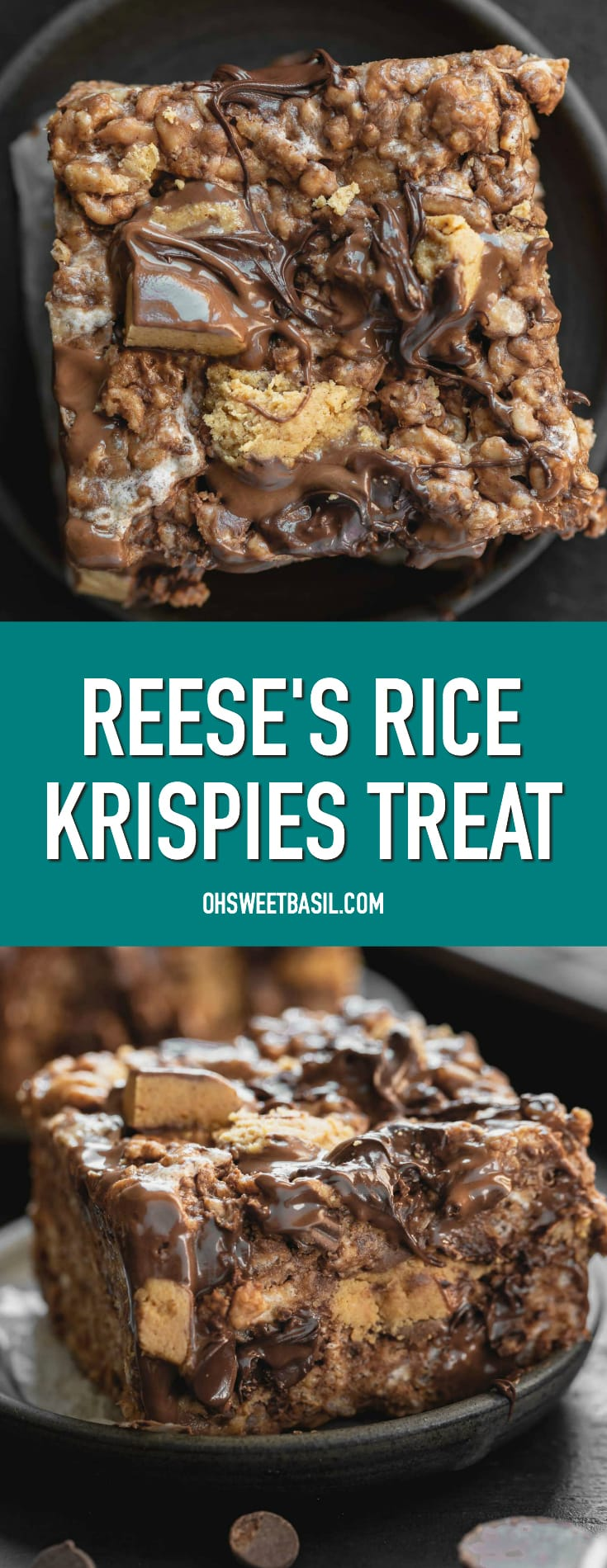 a photo of a rice krispies treat loeaded with reese's peanut butter cups and melted chocolate chips on a small plate with a few chocolate chips and whole mini reese's cups in the foreground.