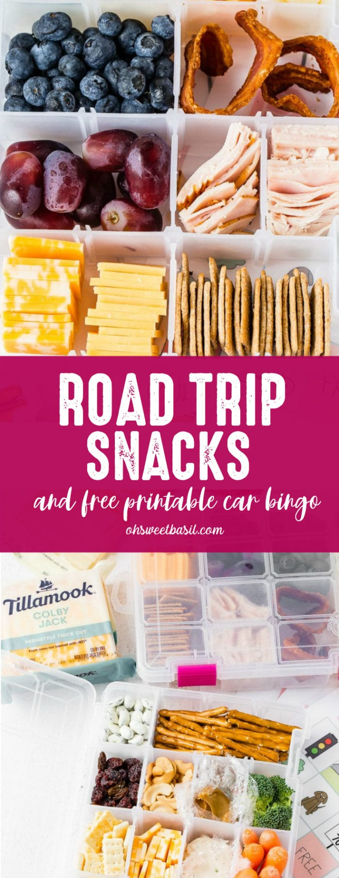 craft box usually used for beads or other crafts is filled with healthy snacks like nuts, fruits, mini sandwiches, cheese and crackers for a healthy road trip snack box