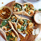 Roasted Chickpea and Garlic Caesar Salad Pitas