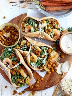 Roasted Chickpea and Garlic Caesar Salad Pitas