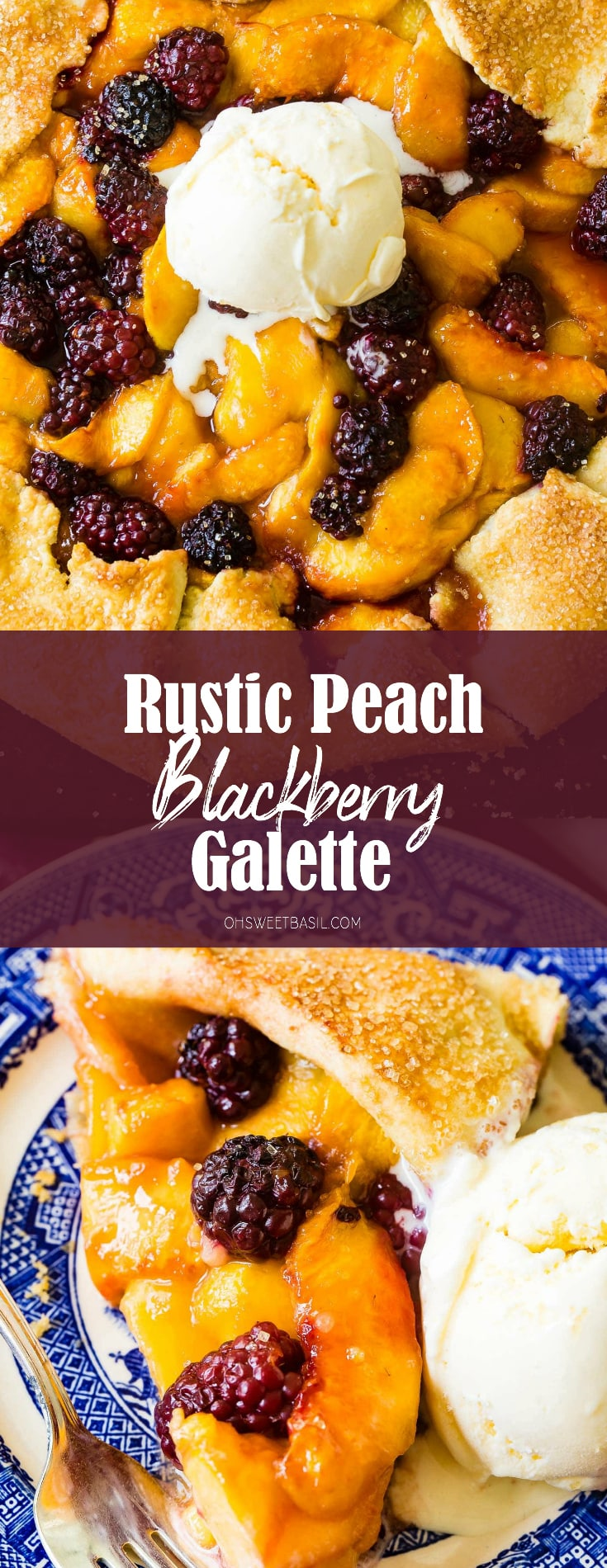 a rustic pie made on a pan is a galette. It's full of peach slices and blackberries with a pie crust!