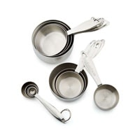 silver odd sized measuring cups