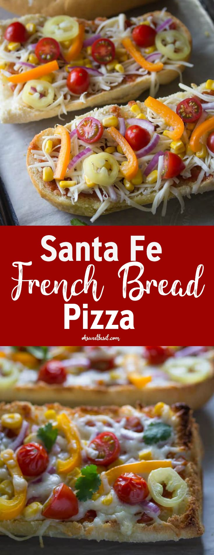 Santa Fe French Bread Pizza with cheese, tomatoes, salsa and bell peppers