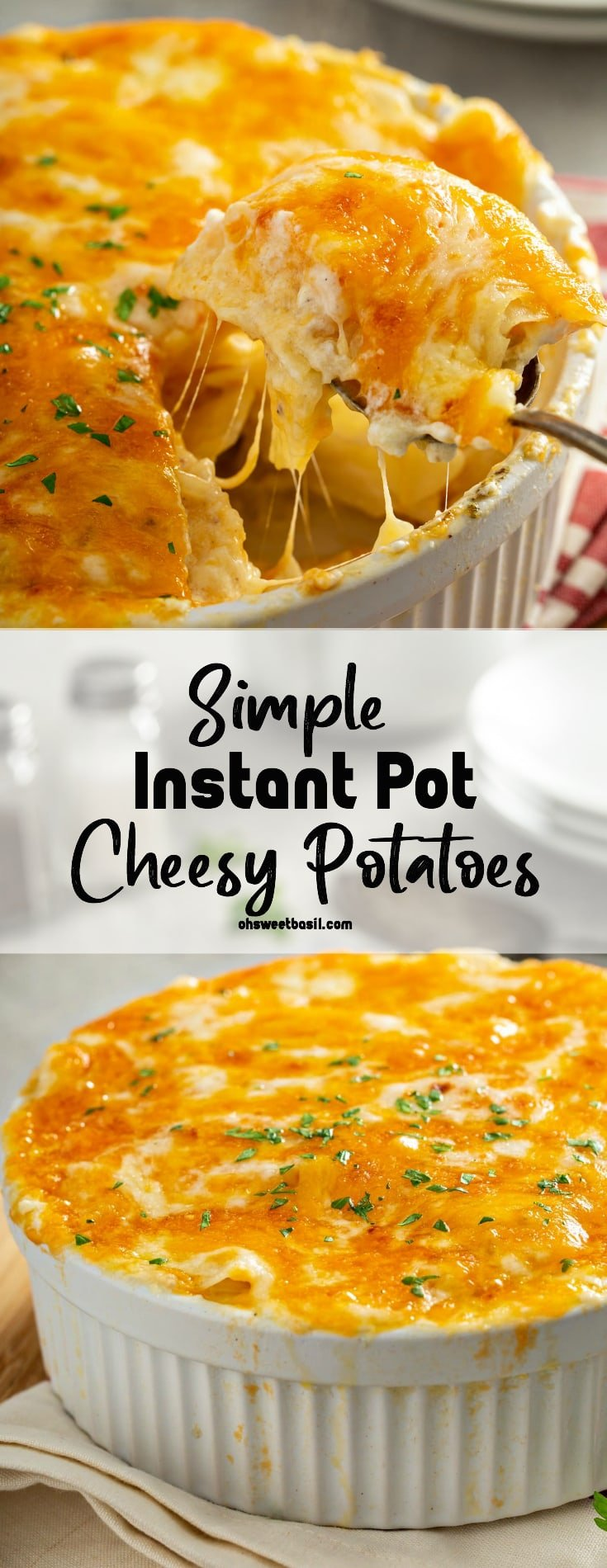 A casserole dish filled with cheesy potatoes. The cheese is melted to perfection and there are strings of cheesy hanging from the serving spoon.