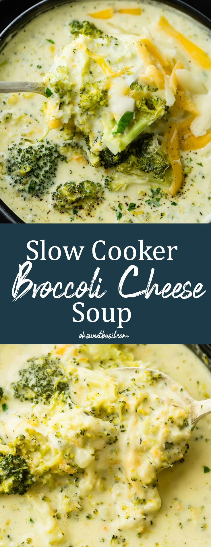 a black bowl full of slow cooker broccoli cheese soup with extra cheese on top!