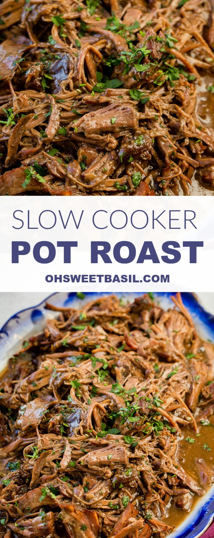 This is our new favorite slow cooker pot roast recipe and it's only 3 ingredients! I cannot even believe how perfect and juicy it was!!
