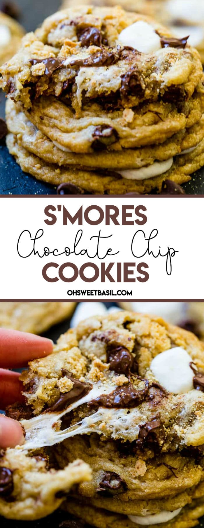 A black background with a stack of s'mores chocolate chip cookies