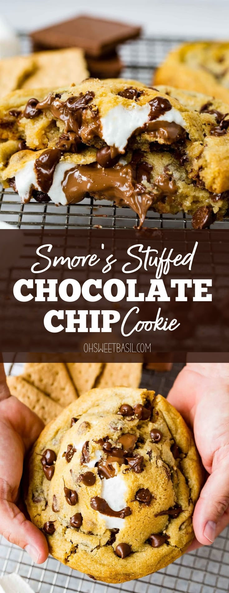 A s'mores stuffed chocolate chip cookie. The cookie is broken in half showing the chocolate, marshmallow and graham cracker inside of the chocolate chip cookie.