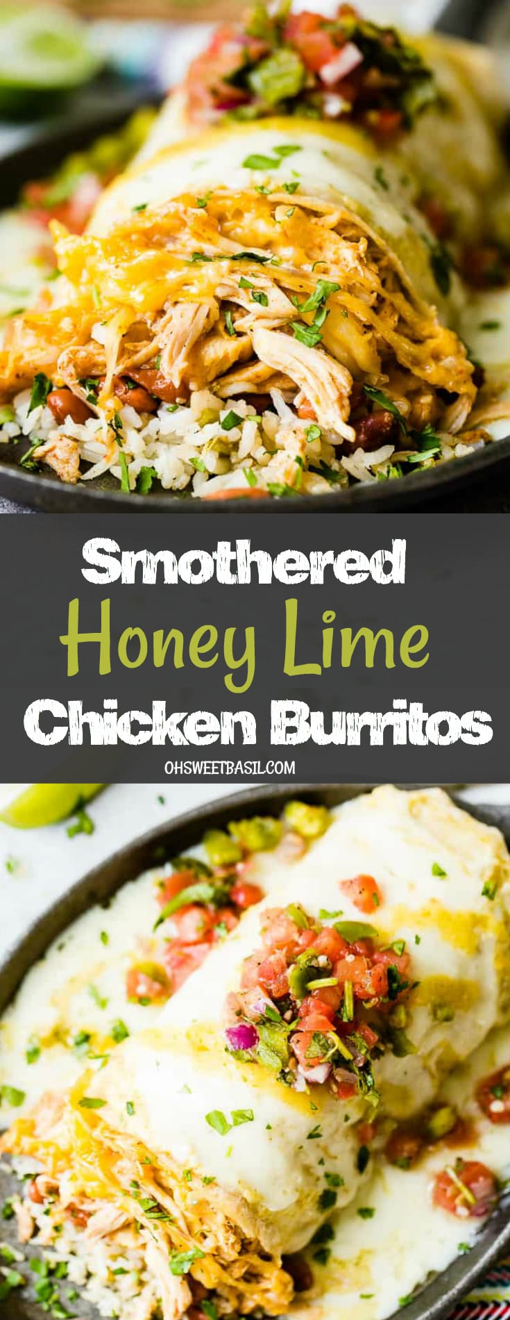 A chicken burrito stuffed with rice, beans and loaded with cheese and salsa on top with a sprinkle of chopped cilantro. Smothered honey lime chicken burritos