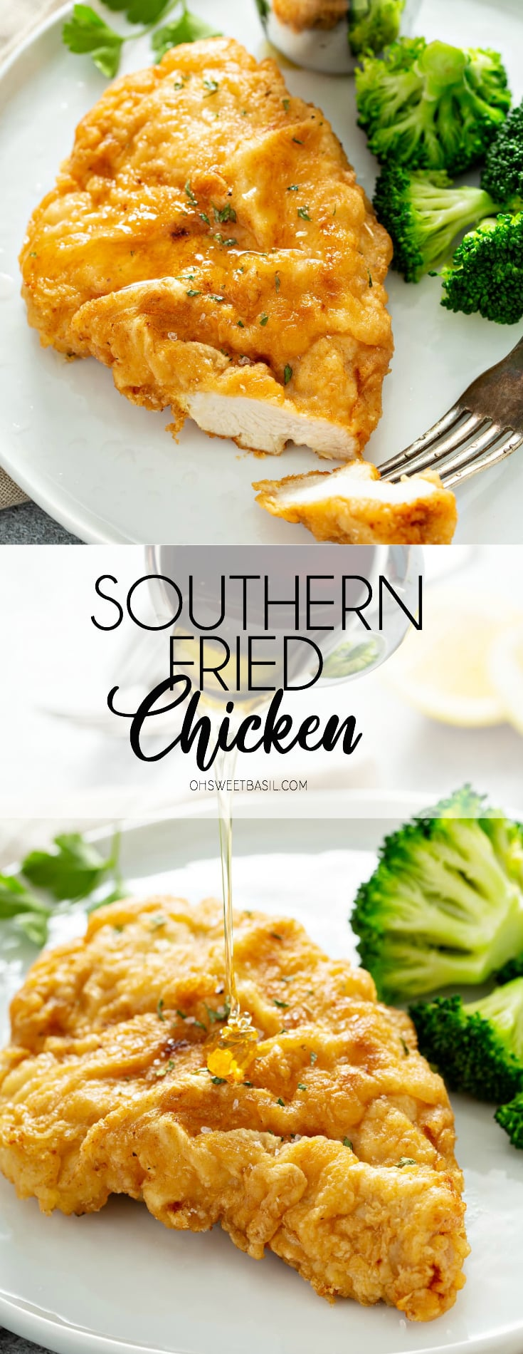 A white dinner plate containing golden brown fried chicken breast with broccoli and a silver container of dipping sauce on the side. There is a fork with a slice of chicken on it, resting on the plate.