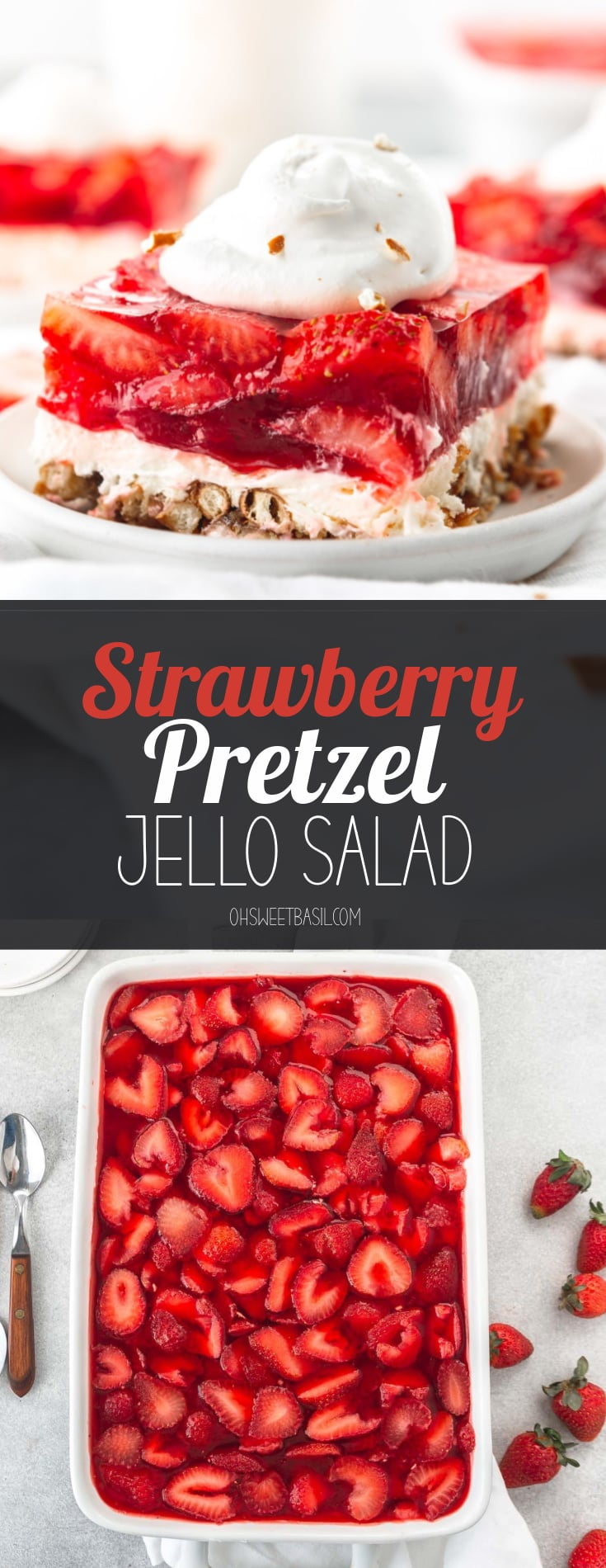 A serving of strawberry pretzel jello salad on a white dessert plate. The salad is layered with pretzel on the bottom, then a white cream layer topped with a layer of strawberry jello packed with sliced strawberries. A dollop of cool whip is on top. Two other servings are in the background.