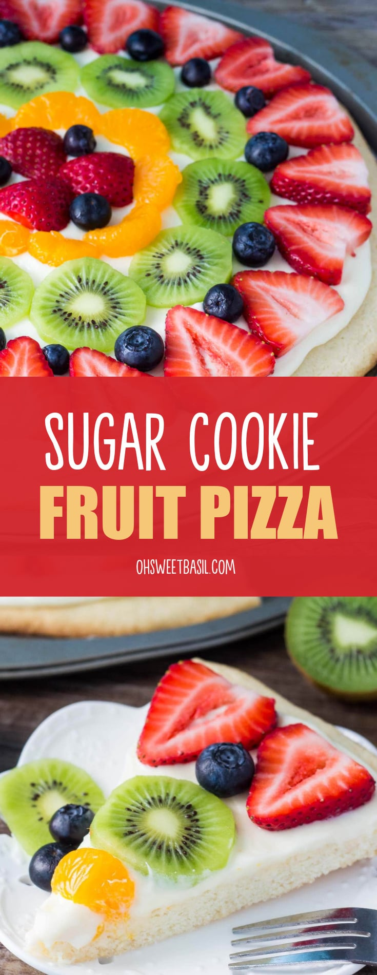 a sugar cookie pizza with fruit on top