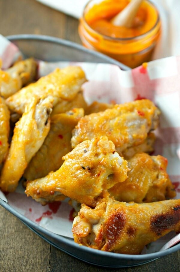 Crispy baked chicken wings coated in a sweet hot mustard sauce make these Sweet Hot Mustard Chicken Wings a total crowd pleaser!
