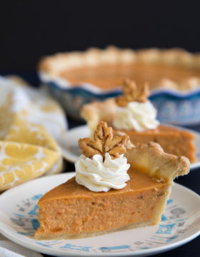 Sweet potato pie slices on plates
