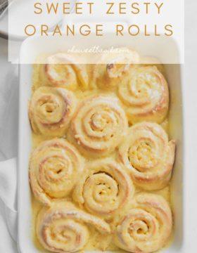 A pan of sweet zesty orange rolls