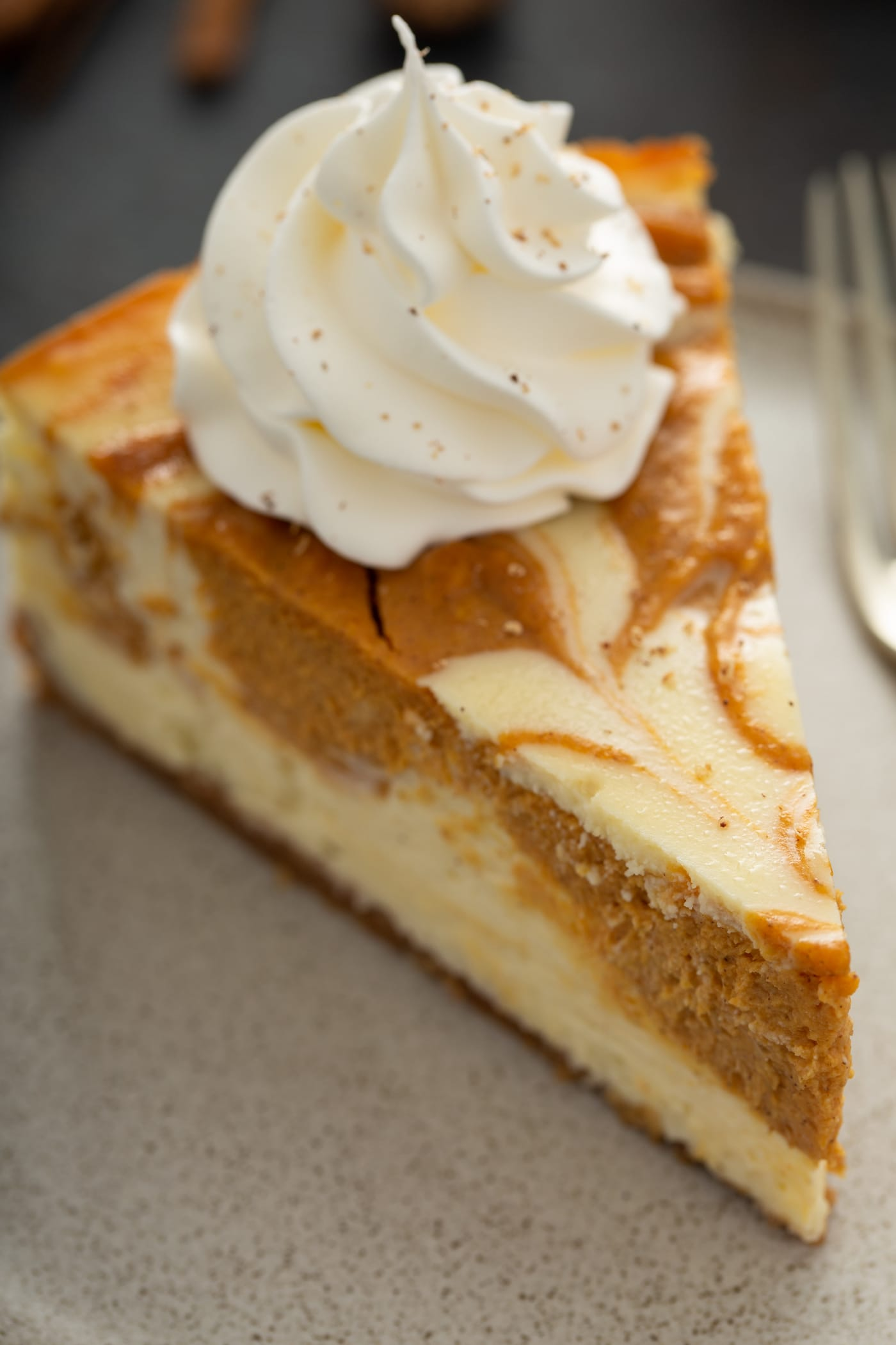 A slice of swirled pumpkin cheesecake with a dollop of whipped cream on top.