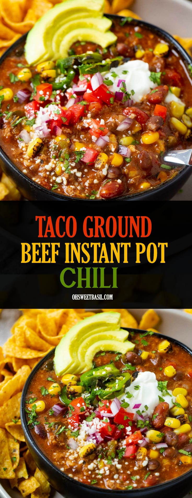 a bowl on a gray plate full of taco ground beef instant pot chili, corn, avocados and fritos chips