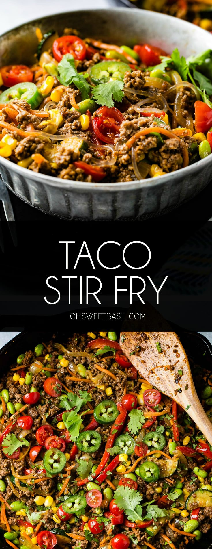 A bowl of taco stir fry. The stir fry contains corn, zucchini, jalapenos, tomatoes, pasta, and ground beef.
