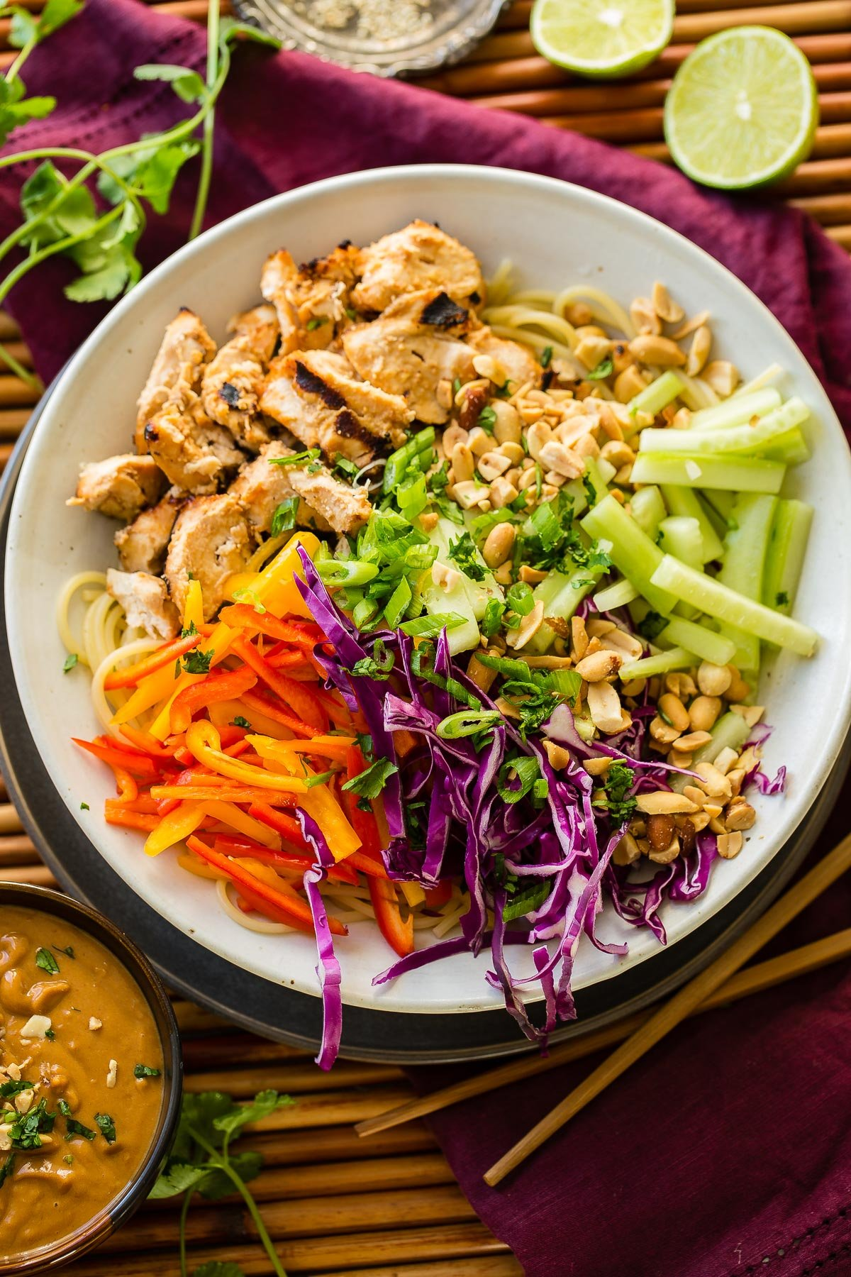 Making Thai peanut sauce is easier than any other Asian inspired recipe I've tried and these Thai peanut sauce noodles and chicken are the best way to start! ohsweetbasil.com