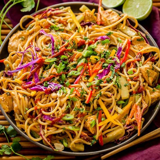 Thai Peanut Sauce Noodles And Chicken Oh Sweet Basil