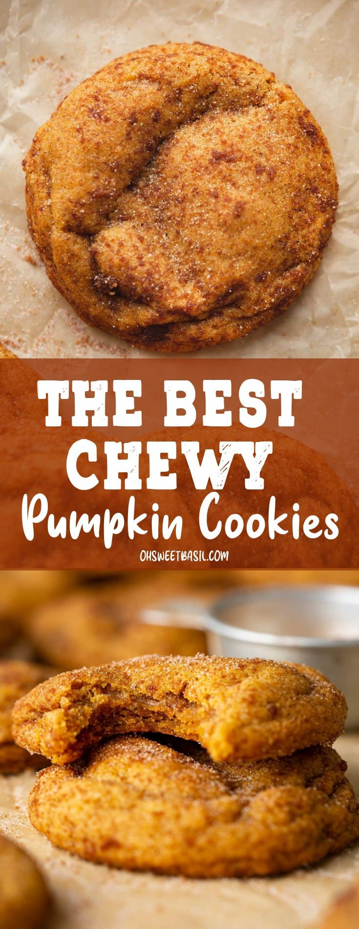 A chewy pumpkin cookie. It is baked to a golden brown and topped with brown sugar and cinnamon.