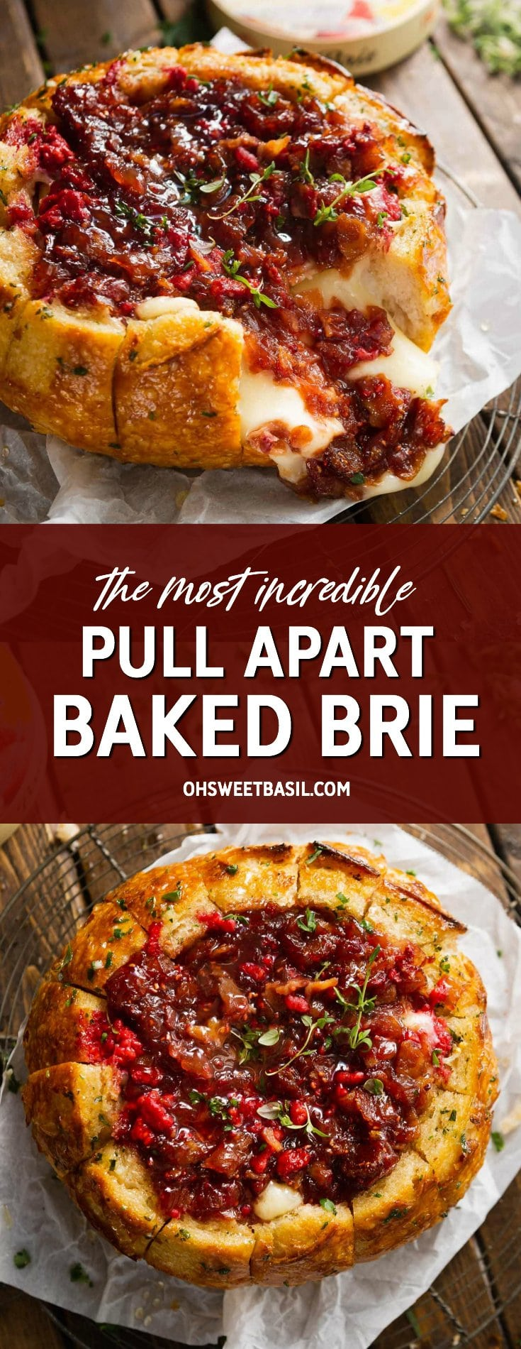A bread bowl filled with brie and topped with a raspberry onion jam. It has been baked and the cheese is melted. A piece of bread has been pulled apart exposing the melted cheese.