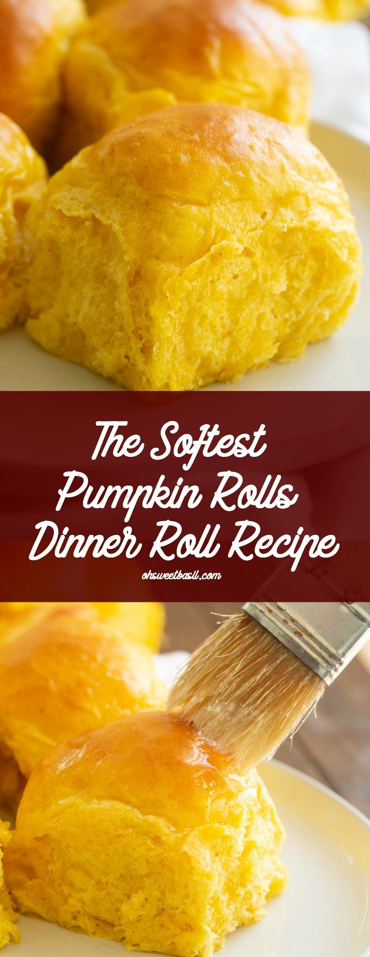 soft and fluffy pumpkin rolls on a white dish