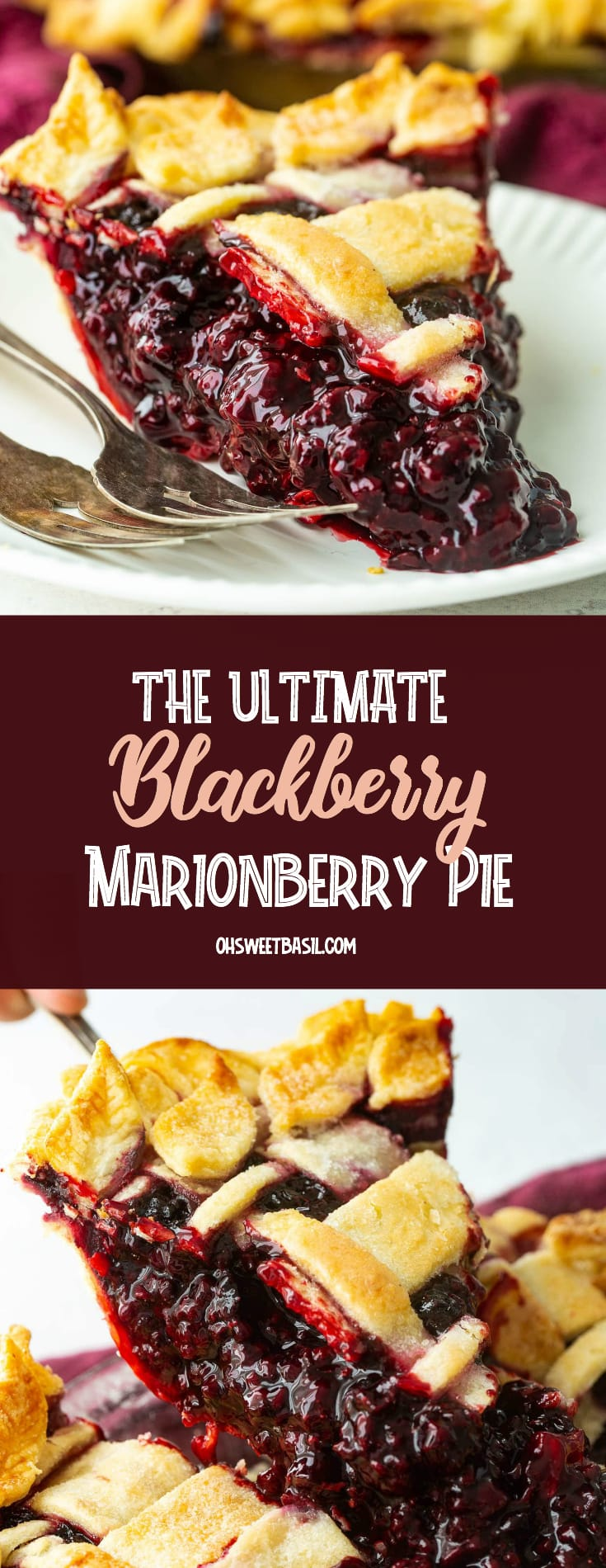 a slice of marionberry pie on a white place with two forks