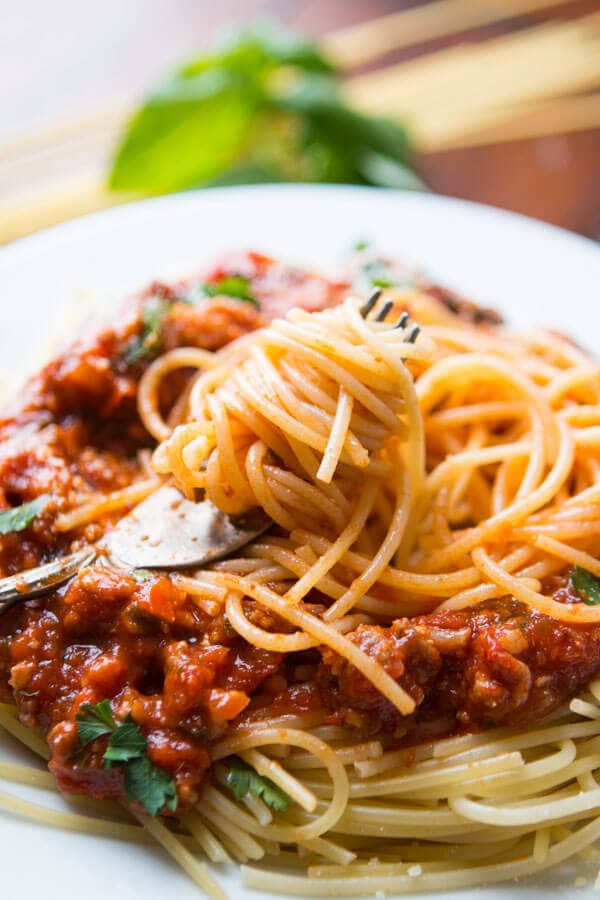 homemade pasta sauce on plate with spaghetti