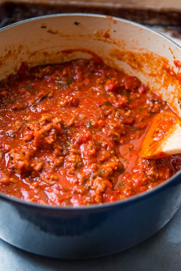 homemade spaghetti sauce in blue dutch oven