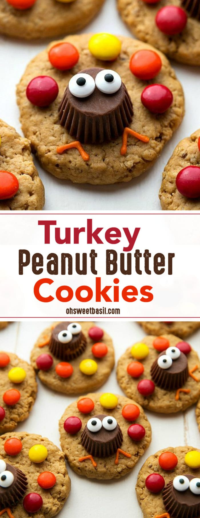 A pan of turkey peanut butter cookies with M&M's and Reese's Peanut Butter Cups