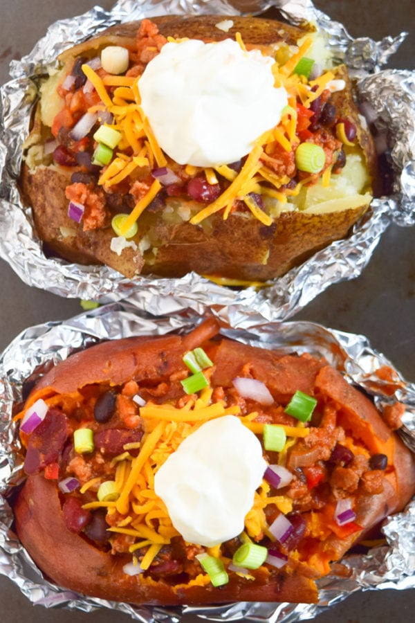 Turkey Chili Stuffed Sweet Potato