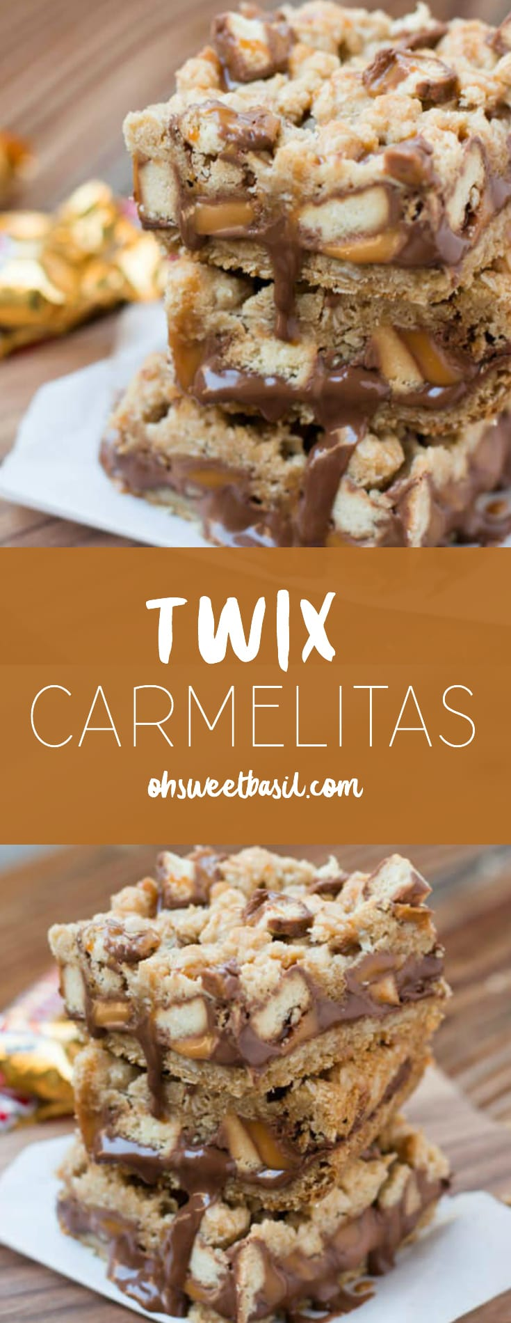 A stack of Twix Carmelitas with chocolate, caramel and chunks of twix candy bars