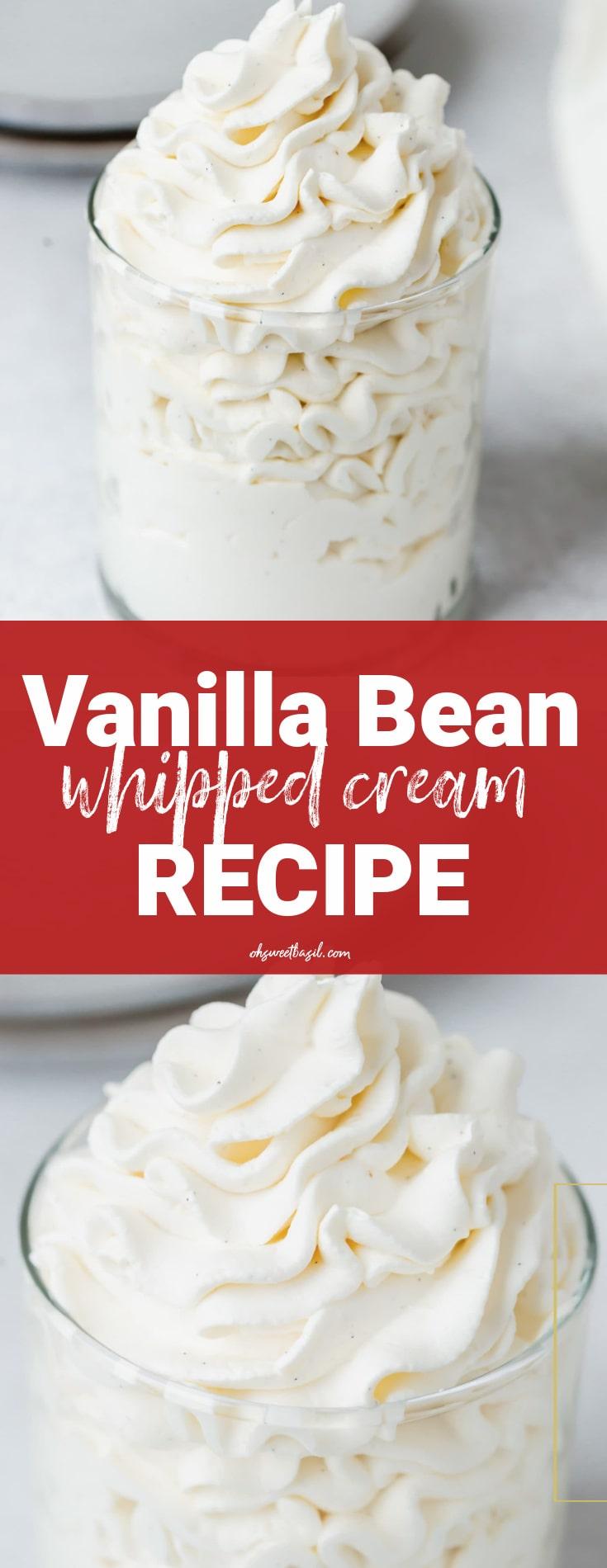 A glass container of mascarpone vanilla bean whipped cream..