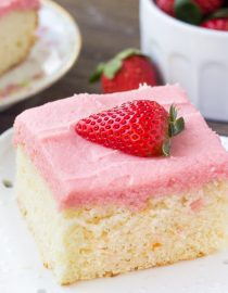 Vanilla Cake With Fresh Strawberry Frosting Oh Sweet Basil