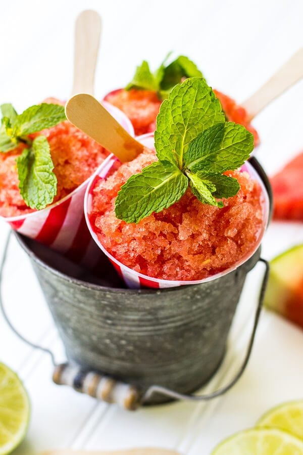 Watermelon Granita is deliciously refreshing and perfect for all your summer parties. It takes minutes to make, and is always a crowd pleaser! Paleo, Whole 30, gluten-free, dairy-free, grain-free, summer dessert