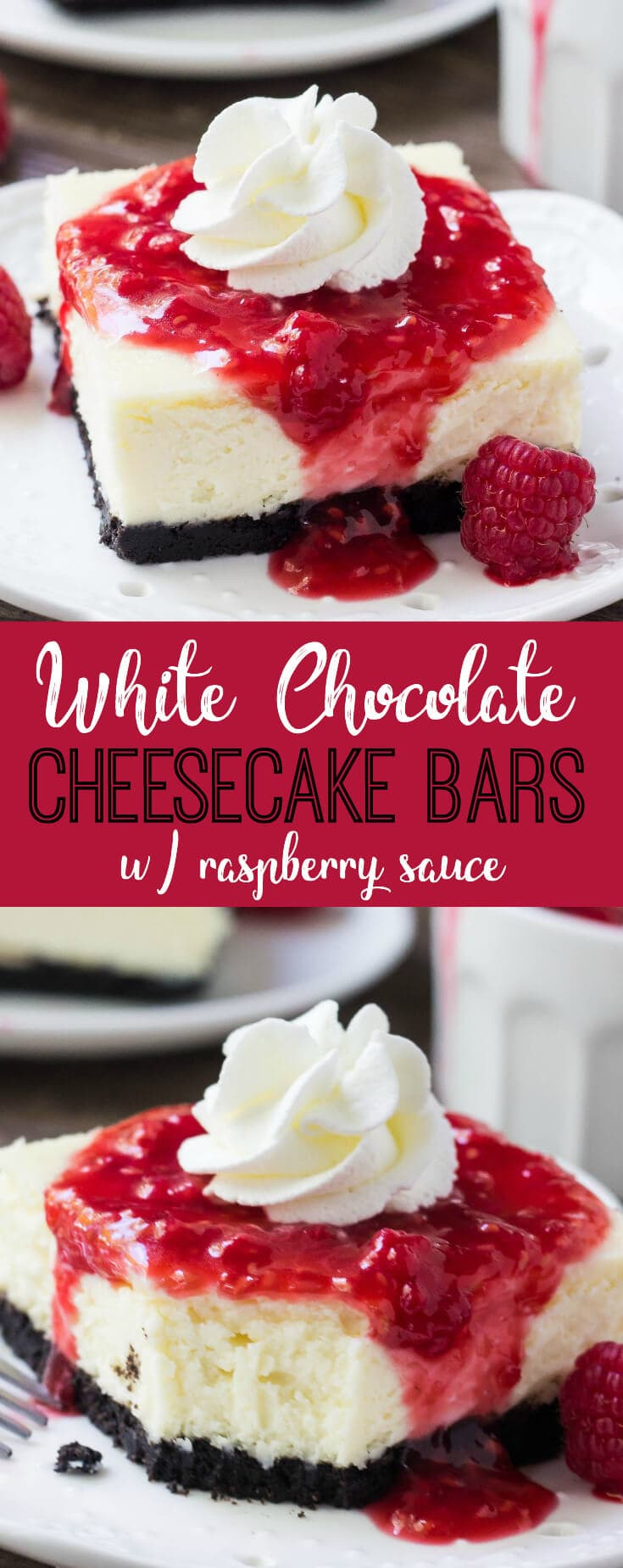 Creamy, smooth white chocolate cheesecake with an Oreo cookie crust. If you're looking for your new favorite dessert - then these white chocolate cheesecake bars with raspberry sauce are just the thing!