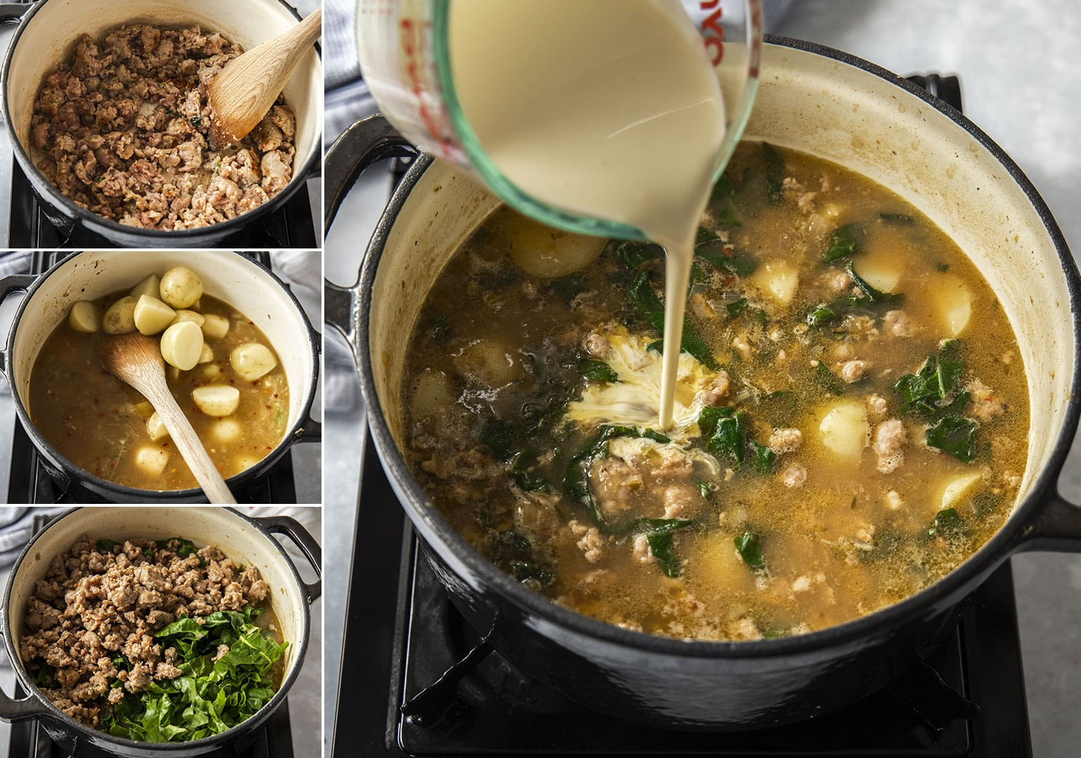 A collage of photos showing the steps to making zuppa toscana.