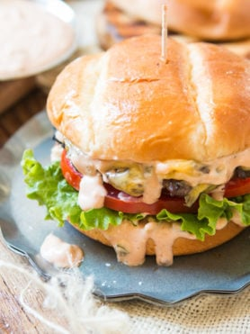 This is it, the all American burger and perfect burger sauce. If you don't want dry, stale burgers look no further for the best classic hamburger. ohsweetbasil.com