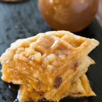 A savory apple bacon cheddar waffle with a luscious apple pie syrup! Breakfast for dinner tonight and I cannot wait to dig in!
